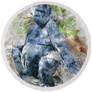 Lady Gorilla Sitting Deep In Thought Round Beach Towel