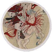 Lady Hangaku Round Beach Towel