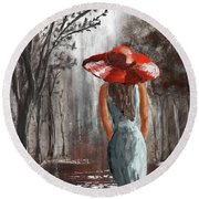 Lady In A Red Hat Round Beach Towel
