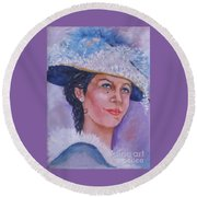 Lady In Blue Round Beach Towel