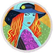 Lady In Charge Round Beach Towel