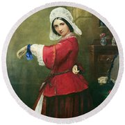 Lady In French Costume Round Beach Towel