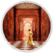 Lady In Golden Gown Walking Through Doorway Round Beach Towel