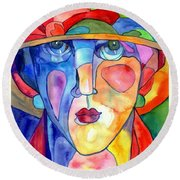 Lady In Hat Watercolor Round Beach Towel