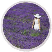 Lady In Lavender Field Round Beach Towel