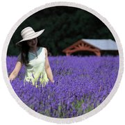 Lady In Lavender Round Beach Towel