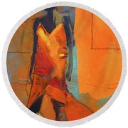 Round Beach Towel featuring the painting Lady In Orange by Nancy Merkle