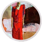 Round Beach Towel featuring the painting Lady In Red by Nancy Merkle