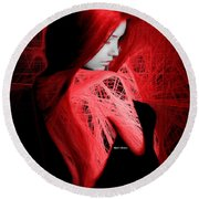 Round Beach Towel featuring the digital art Lady In Red by Rafael Salazar