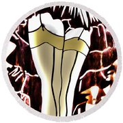 Lady In Stockings_2 Round Beach Towel