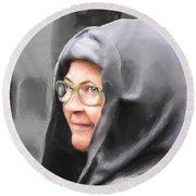 Lady In The Grey Hood Round Beach Towel by Ken Morris