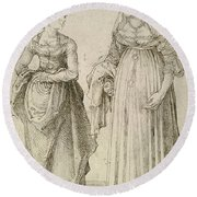 Lady In Venetian Dress Contrasted With A Nuremberg Hausfrau Round Beach Towel