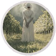 Lady In Vineyard Round Beach Towel