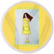 Lady In Yellow Round Beach Towel by Don Pedro De Gracia