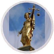 Round Beach Towel featuring the photograph Lady Justice In Bruges by RicardMN Photography