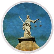 Lady Justice. Streets Of Dublin. Painting Collection Round Beach Towel