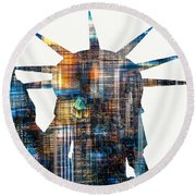 Round Beach Towel featuring the photograph Lady Liberty by Hannes Cmarits