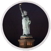 Lady Liberty Round Beach Towel