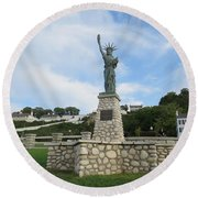 Lady Liberty On Mackinac Island Round Beach Towel