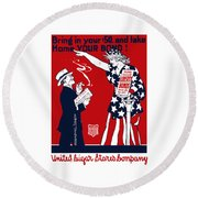 Lady Liberty War Bonds - Ww1 Round Beach Towel by War Is Hell Store