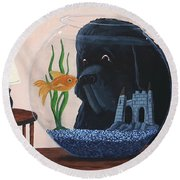 Lady Looks In The Fish Bowl For Mommy And Daddy Round Beach Towel