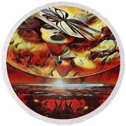 Lady Moon Light In Red Round Beach Towel