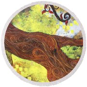 Lady Of Elation Round Beach Towel