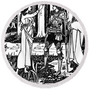 Lady Of The Lake Round Beach Towel