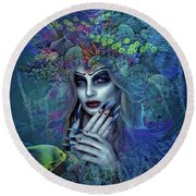 Lady Of The Sea 02 Round Beach Towel