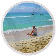 Round Beach Towel featuring the digital art Lady On The Beach by Francesca Mackenney