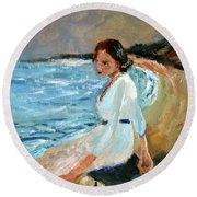 Lady On The Beach Round Beach Towel