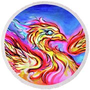 Lady Phoenix  Round Beach Towel by Nada Meeks
