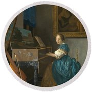 Lady Seated At A Virginal Round Beach Towel