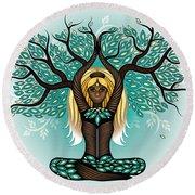 Lady Shaman Tree Round Beach Towel by Serena King