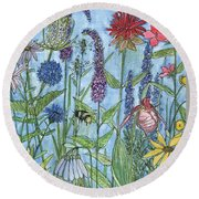 Round Beach Towel featuring the painting Lady Slipper In My Garden  by Laurie Rohner