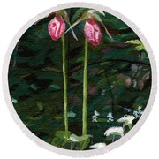 Round Beach Towel featuring the painting Lady Slipper by Lynne Reichhart
