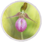 Lady Slipper Orchid Fantasy Round Beach Towel