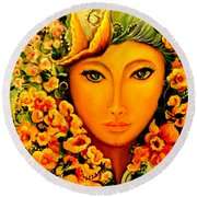 Round Beach Towel featuring the painting Lady Sring by Yolanda Rodriguez