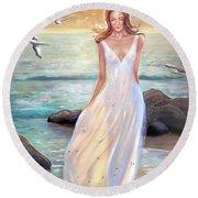 Lady Walking On The Beach Round Beach Towel