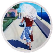 Lady With A Parasol Round Beach Towel