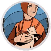 Lady With An Ermine By Piotr Round Beach Towel