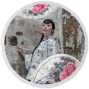 Lady With An Umbrella. Round Beach Towel