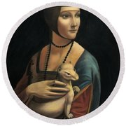 Lady With Ermine - Pastel Round Beach Towel
