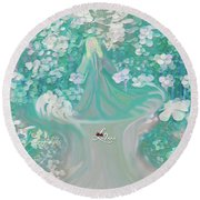 Round Beach Towel featuring the digital art Lady With Love Of The Fountain by Sherri Of Palm Springs