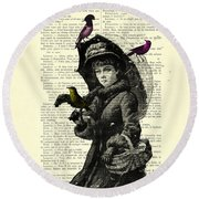 Lady With Umbrella In Winter Landscape Print On Old Book Page Round Beach Towel