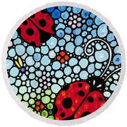 Ladybug Art - Joyous Ladies 2 - Sharon Cummings Round Beach Towel