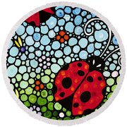 Ladybug Art - Joyous Ladies 2 - Sharon Cummings Round Beach Towel