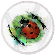 Round Beach Towel featuring the drawing Ladybug Drawing by John Dyess