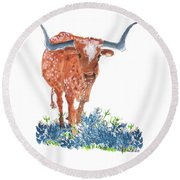 Ladybug In The Bluebonnets Lh002 By Kmcelwaine Round Beach Towel