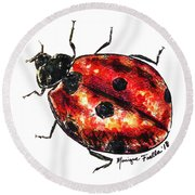 Round Beach Towel featuring the painting Ladybug by Monique Faella